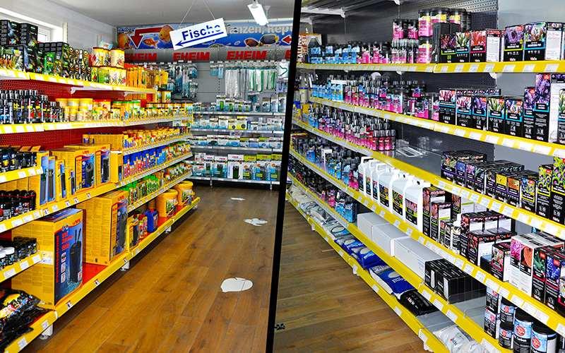 Gänge im Fish Fever Laden mit Produkten für Süßwasseraquaristik und Salzwasseraquaristik im Regal