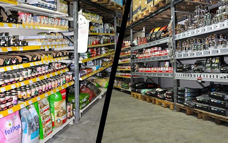 Heimtierbedarf Nassfutter und Trockenfutter in Regalen