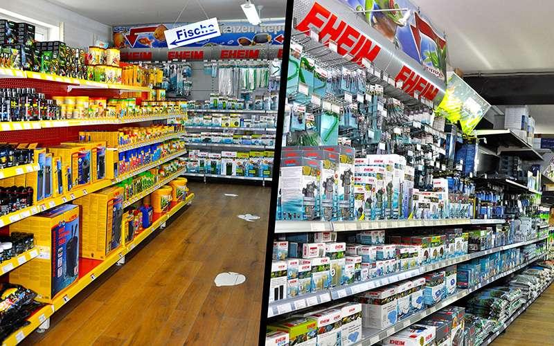 Gänge im Fish Fever Laden mit Süßwasseraquaristik-Produkten im Regal
