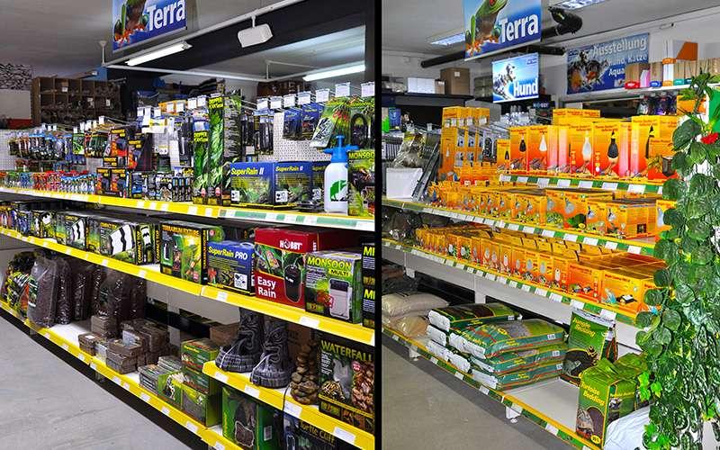 Gänge im Fish Fever Laden mit Produkten für Terraristiker im Regal